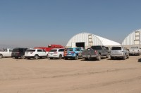 Guests for Gold Dust and Walker Farms' Open House Field Day parked their cars outside Cellar 1 for lunch and shed tours.