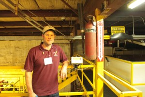Gold Dust Potato Processors Plant Manager Matt Thompson with digital readout at the Malin, Oregon potato packing shed.