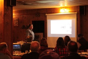 Klamath County Museum Manager, Todd Kepple, giving a presentation about Klamath Basin agriculture during Gold Dust & Walker Farms' 18th Annual Open House Field Day breakfast.
