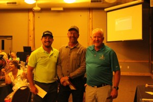 2nd place team for Gold Dust and Walker Farms' Open House Field Day golf scramble Drew Huffman, Rob Unruh and Steve Parkinson.