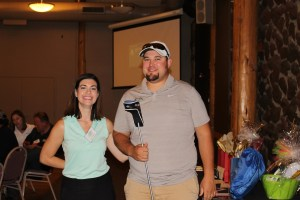 Lexi Crawford with Gold Dust Open House Field Day Longest Drive winner, Jared Marshall.