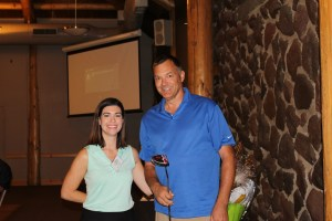 Lexi Crawford with Gold Dust's 18th Annual Open House Field Day Men's KP winner Jeff Dahl.