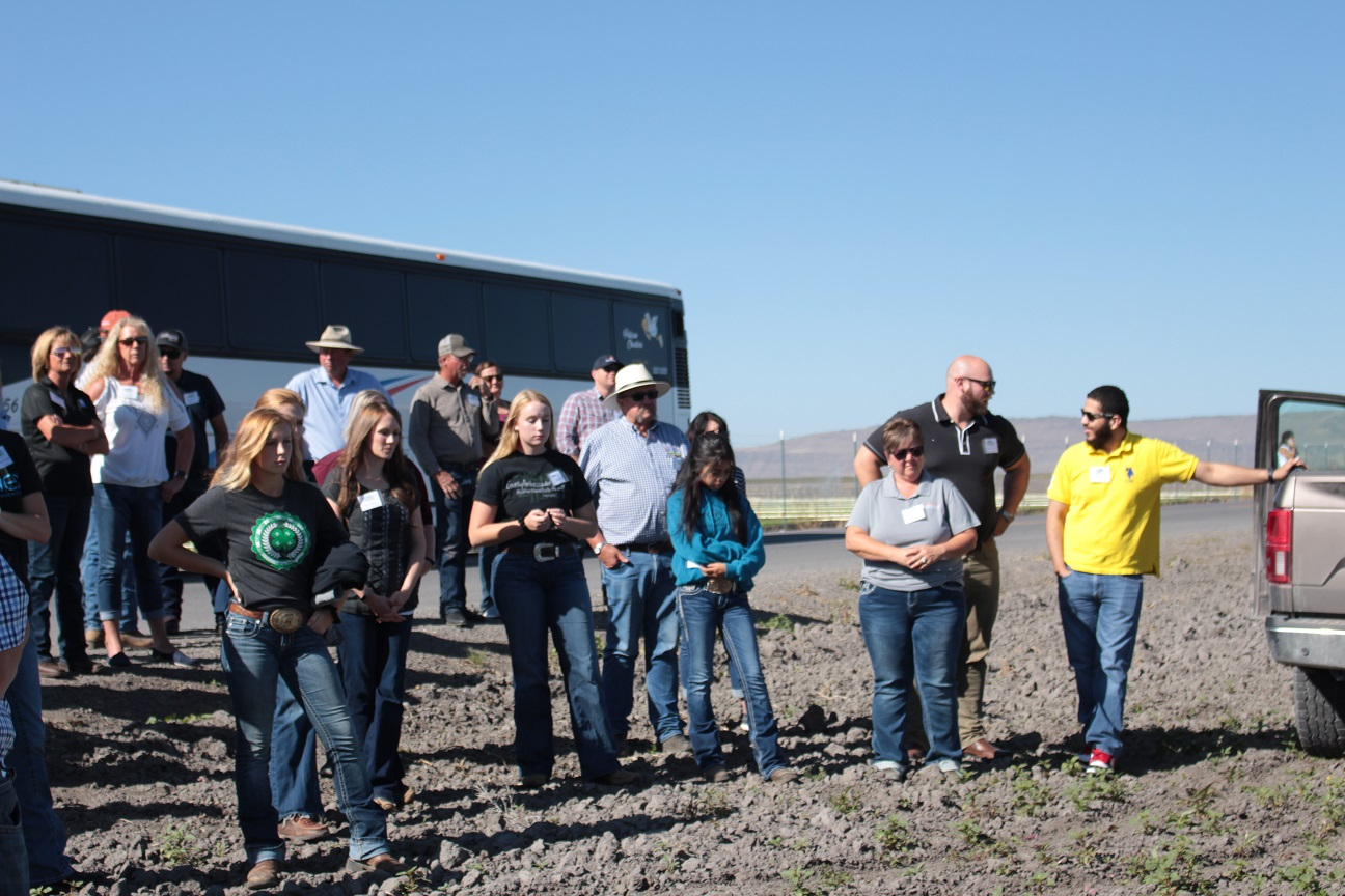 Members of Klamath County 4H with Gold Dust & Walker Farms' guests during the 2019 Open House Field Day.