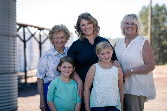 Tricia Hill and her grandmother- Betty Halousek, mother - Jan Walker, and her daughters - Mari and Rory.