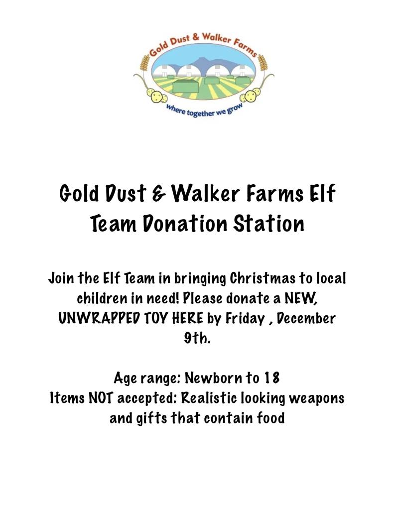 Gold Dust & Walker Farms Toys For Tots flier