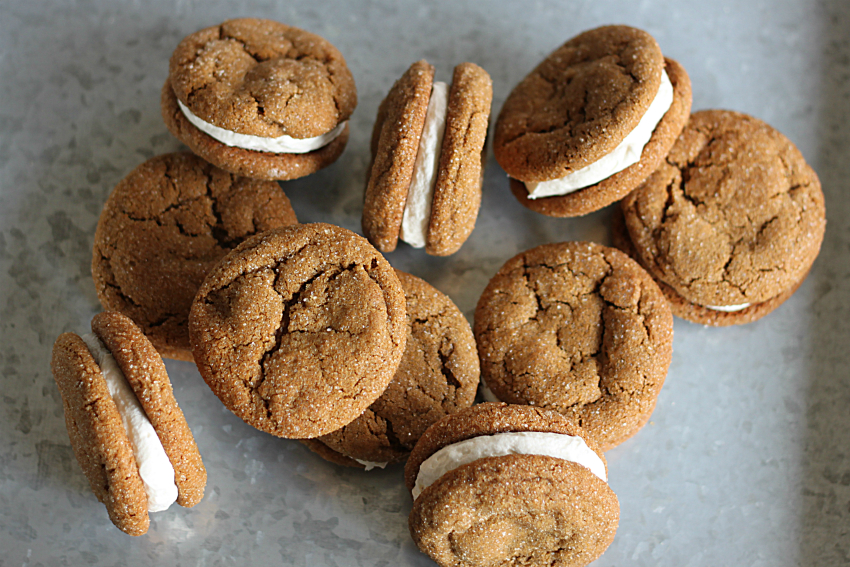 chewy molasses cookie sandwiches