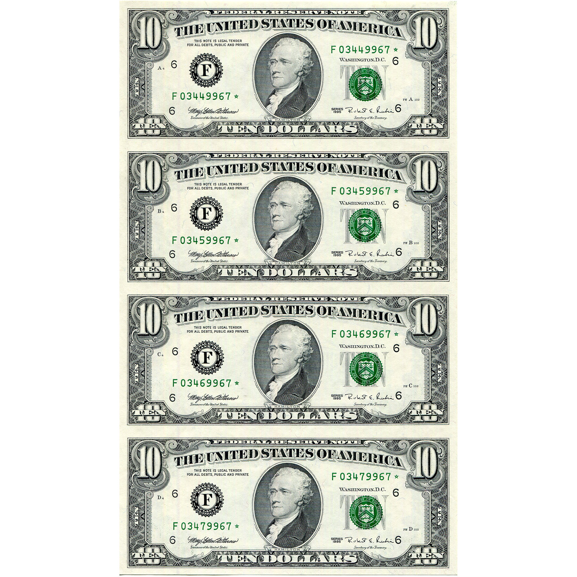 10 Uncut Currency Sheets