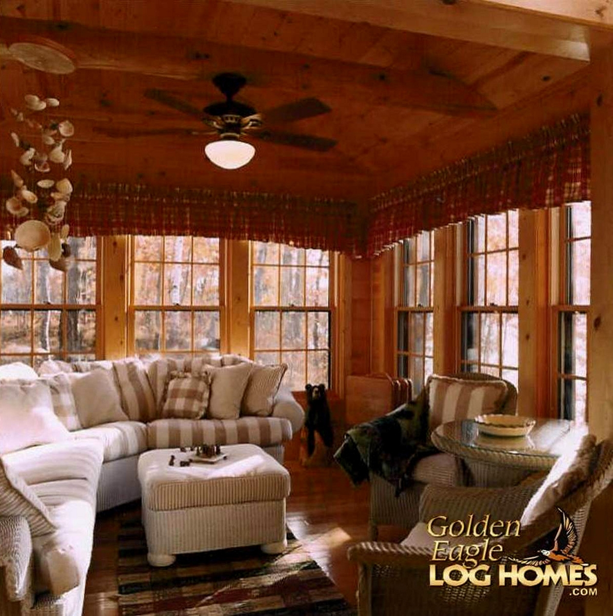 ceiling fan kitchen modern cabinets golden eagle log and timber homes: home / cabin ...
