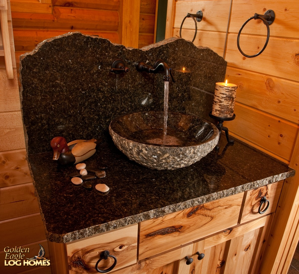 tall kitchen faucet kohler faucets parts golden eagle log and timber homes: home / cabin ...