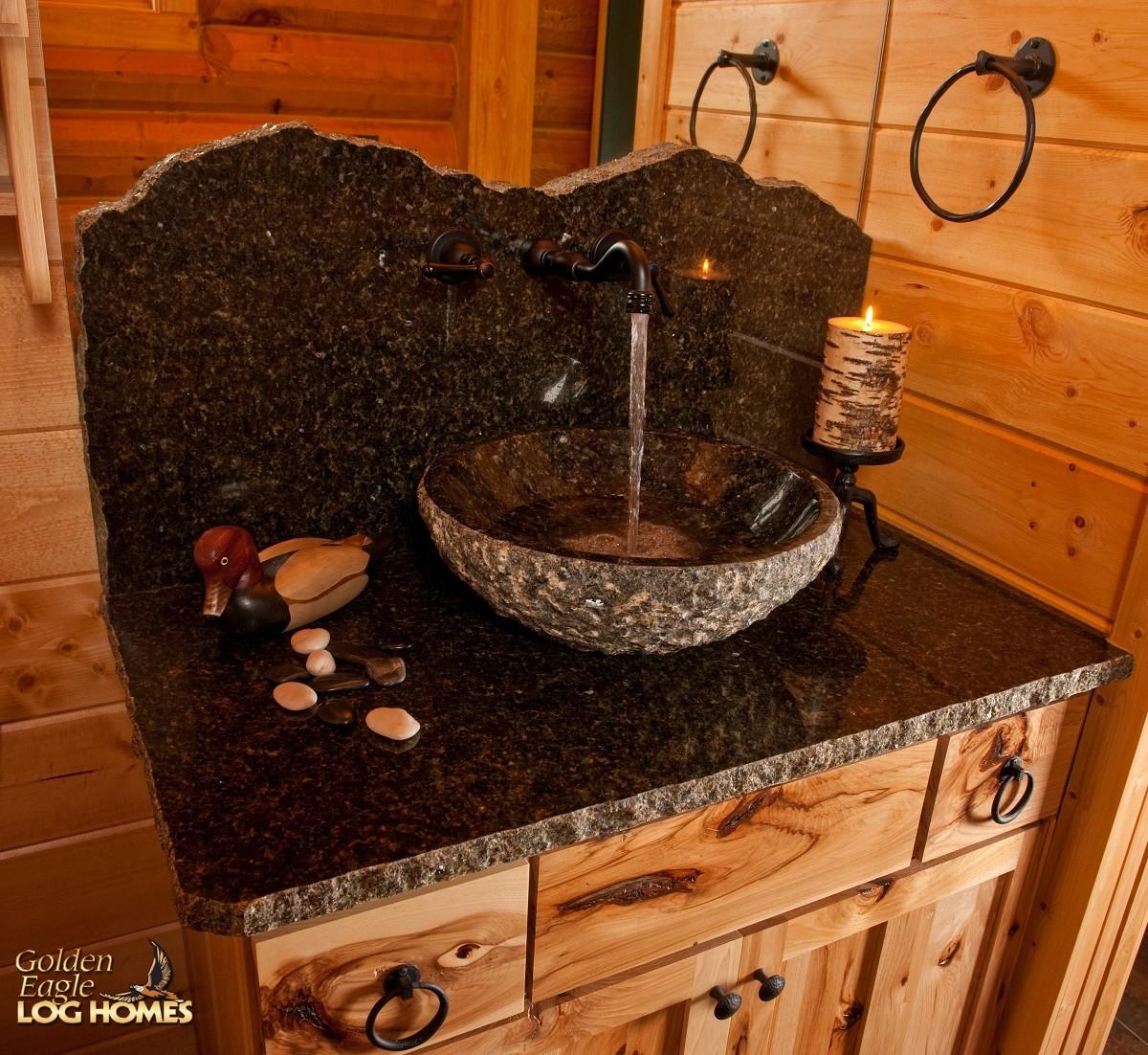 stone kitchen backsplash flush mount light golden eagle log and timber homes: home / cabin ...