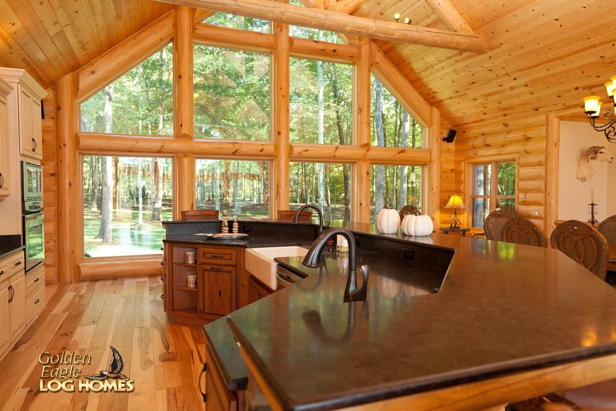 kitchen tile floor designs ikea cabinets installation golden eagle log and timber homes: home / cabin ...