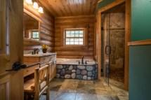 Cabin Log Home Master Bathrooms