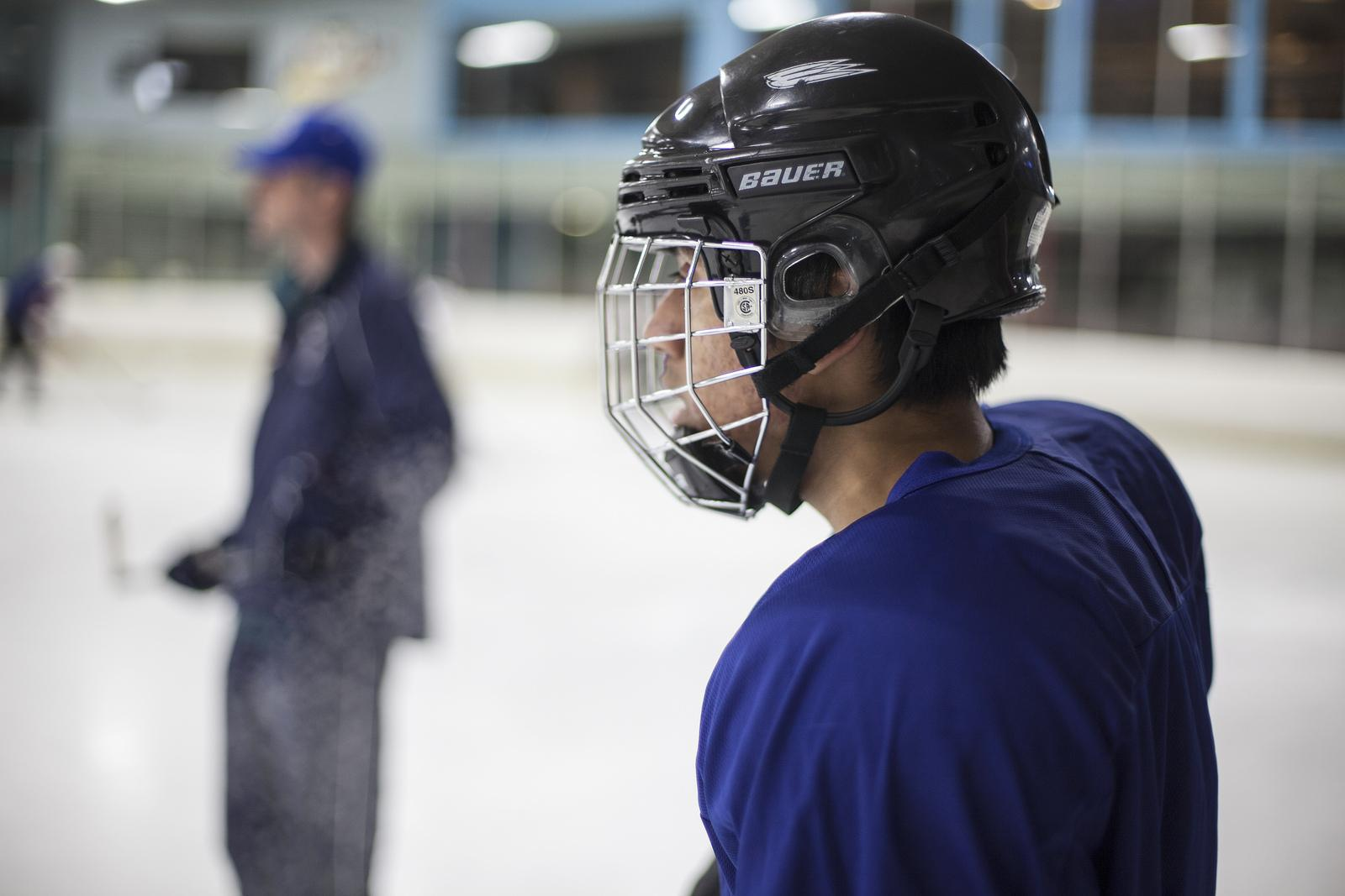 Matan Geller, SF state freshman, takes a second to breath during hockey practice on Sunday, Sept. 29, 2013 at the Ice Oasis. The team members each pitch in for ice time to be able to practice every Sunday at 10:45pm in Redwood City, Calif. Photo by Dariel Medina / Xpress