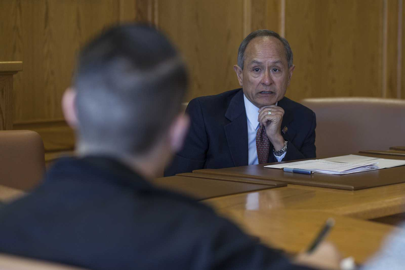 SF State president Leslie Wong answers a question from Matt Saincome about what the university is doing to prevent another Robert Shearer incident, during a press conference with Xpress editors Monday, Oct. 7, 2013 in a conference room in the administration building at SF State. Photo by Mike Hendrickson / Xpress