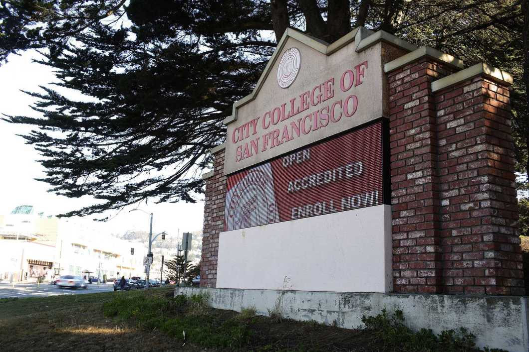 The City College of San Francisco's front sign reads
