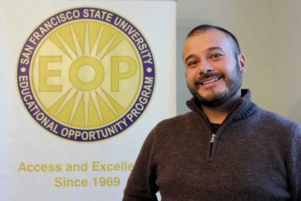 SF State's Educational Opportunity Program Director Oscar Gardea poses for a portrait in the EOP office located in Student Services building room 201. This semester is the first time the program has accepted AB540 students into its curriculum. Photo by Tony Santos / Xpress