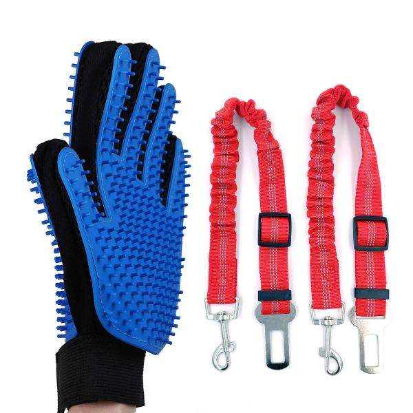 Set de guantes quita pelos y cinturón para mascotas