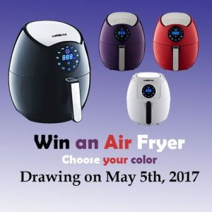 Win an Air Fryer, Choose you color,Air Fryer Sweepstakes, 2017 sweepstakes