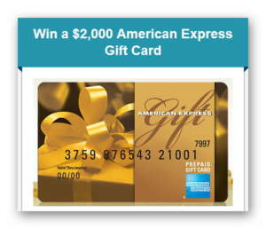 Win a $2,000 American Express Gift Card from etraveltrips