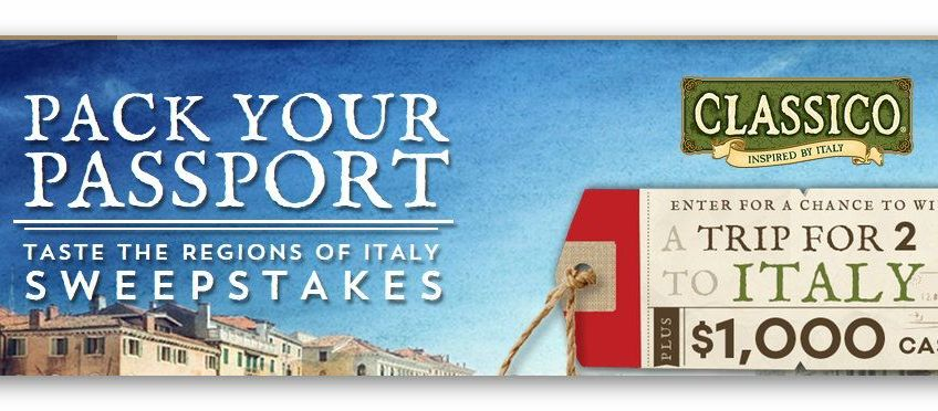 Pack your Passport Taste the Regions of Italy Sweepstakes