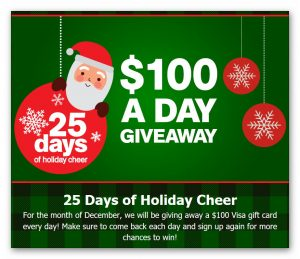 Extended Stay America's 25 Days of Holiday Cheer $100 Giveaways