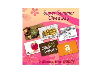 Super Summer Giveaway (6 winners) - Ends Sept 30th