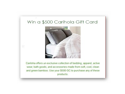 $500 Carihola Gift Card Giveaway