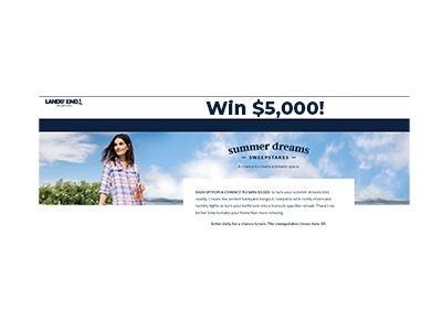 Lands End Summer Dreams $5,000 Cash Sweepstakes