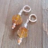 Sunflower Earrings in Carved Carnelian Stone