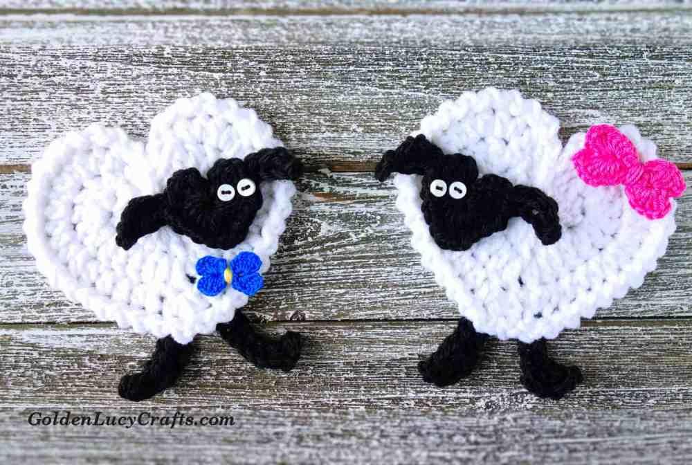 medium resolution of crochet heart sheep applique