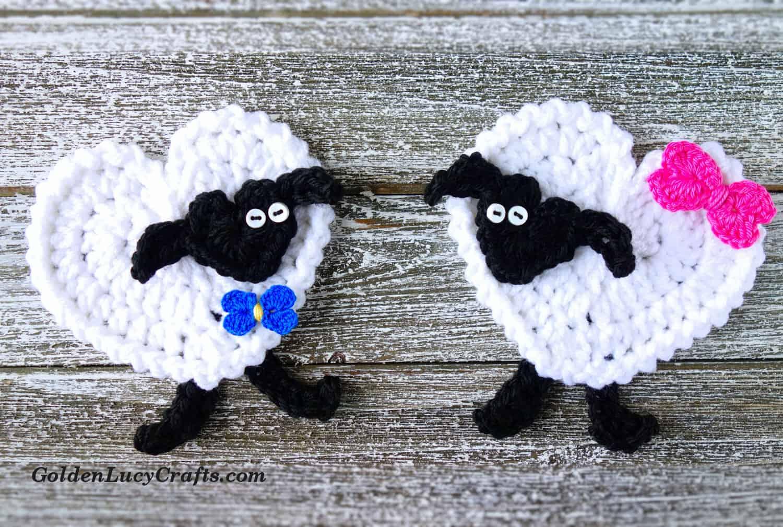 hight resolution of crochet heart sheep applique