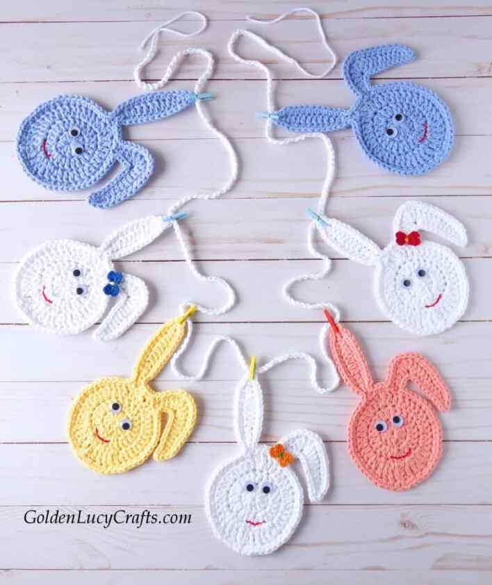 Crochet Easter garland, Easter bunny garland, crochet Easter bunny eggs, DIY Easter decoration, crochet Easter bunting, free crochet pattern