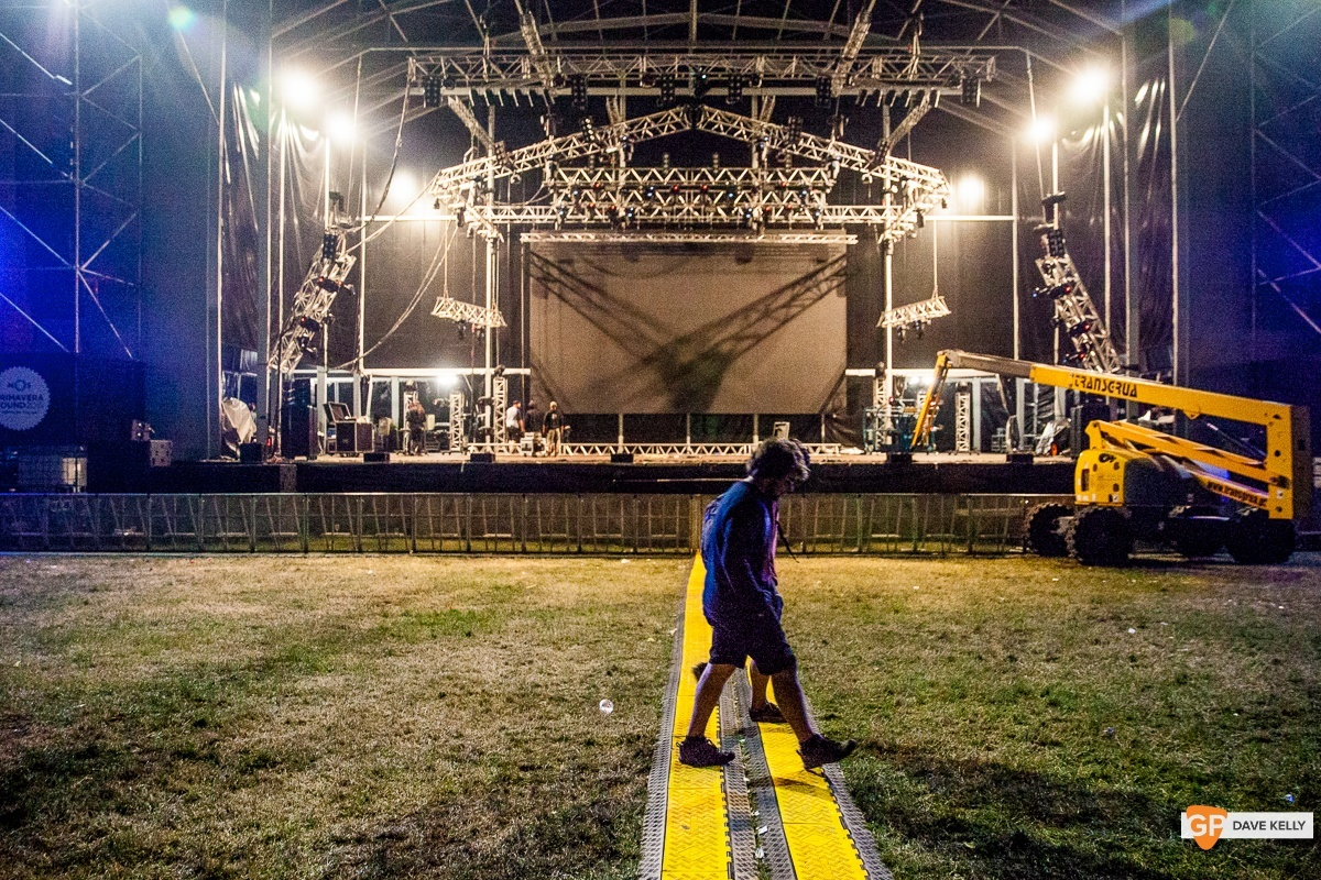 Lone figure walks in front of an empty main stage at NOS Primavera Sound, Porto by David Kelly