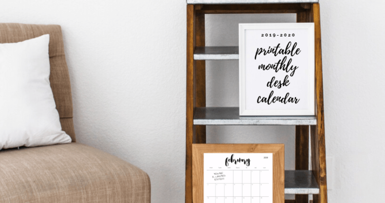 downloadable monthly calendar 2020