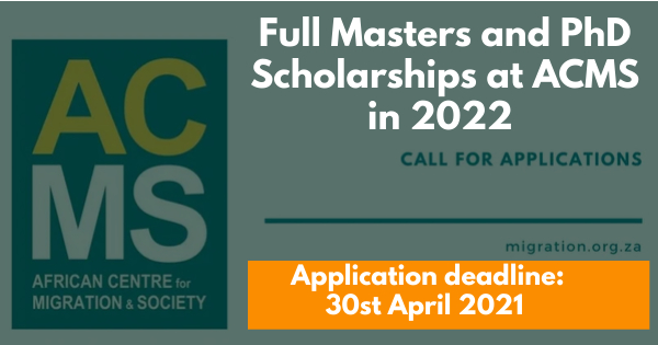 ACMS Full Masters & PhD Scholarships 2021 for African Students – Wits University