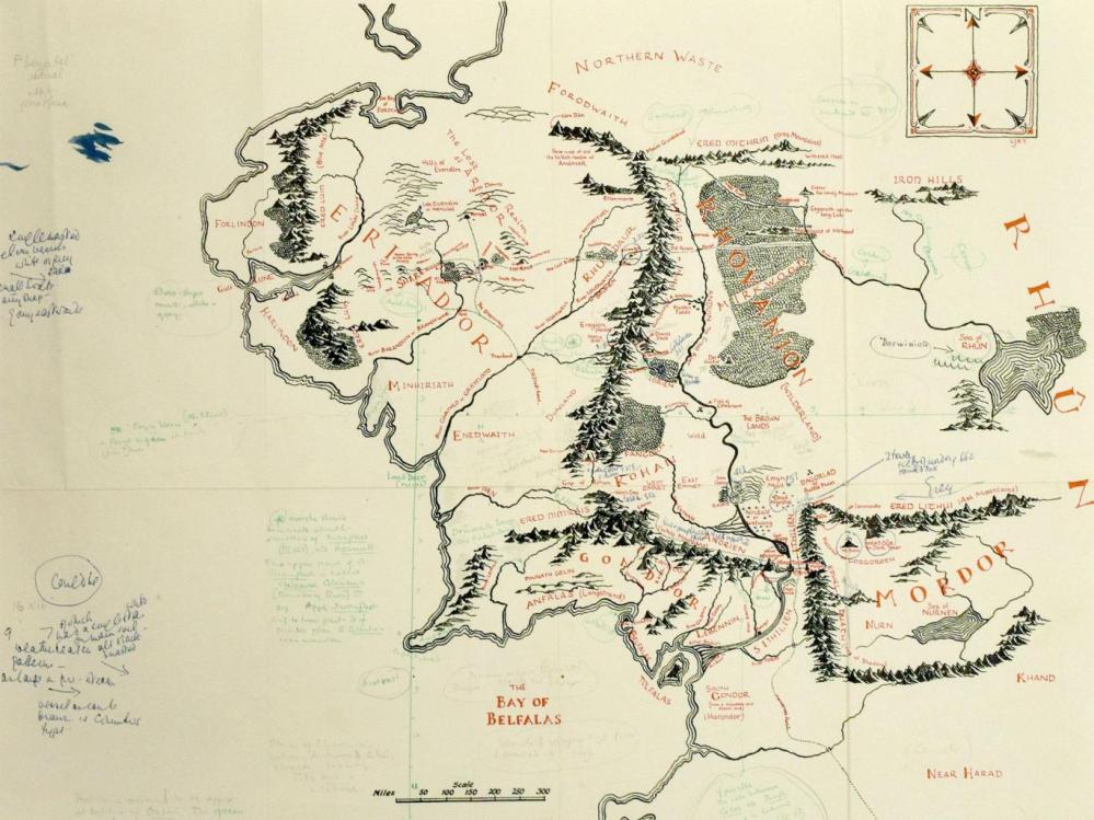 medium resolution of annotated copy of j r r tolkien s map of middle earth