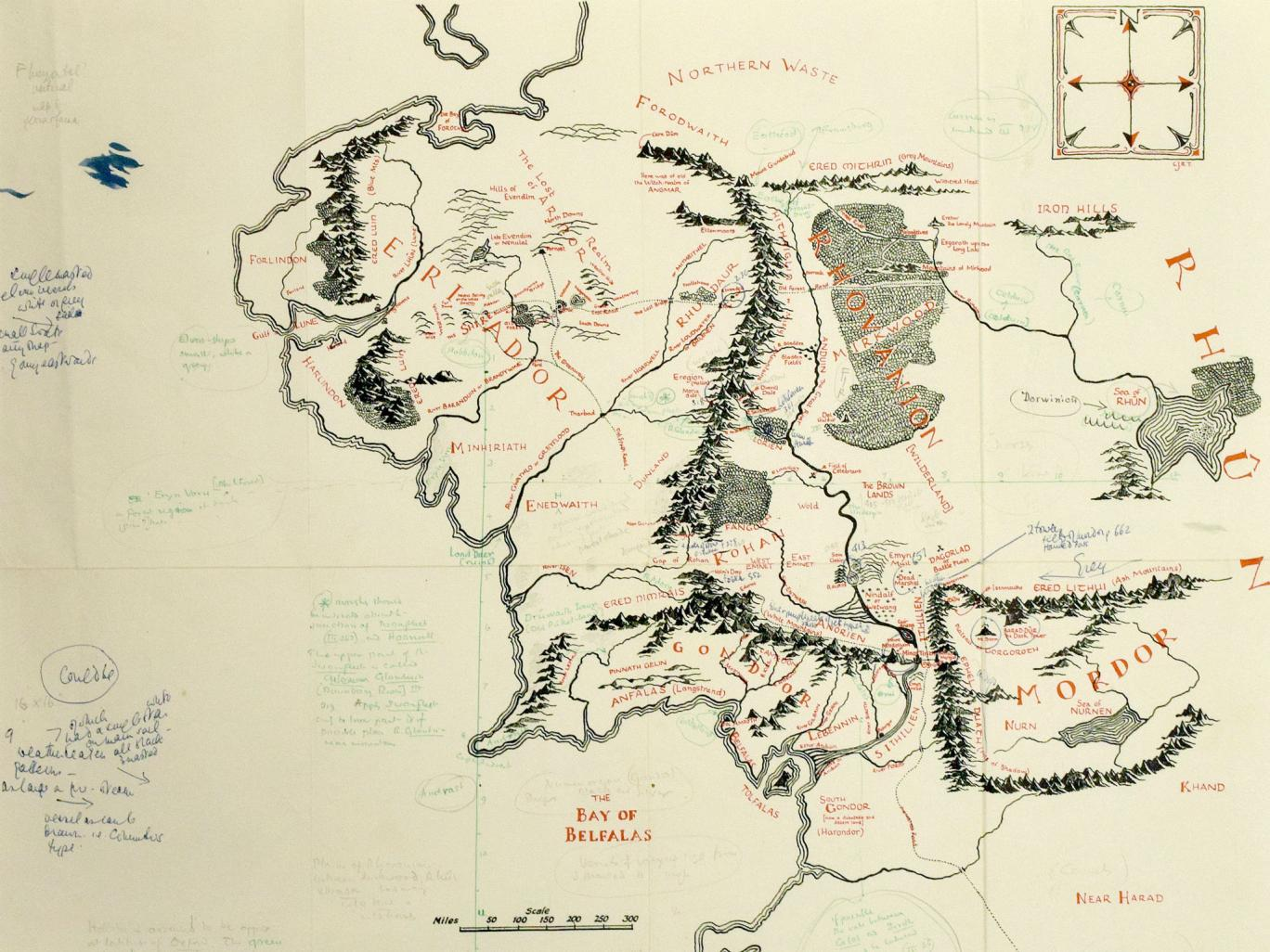 hight resolution of annotated copy of j r r tolkien s map of middle earth