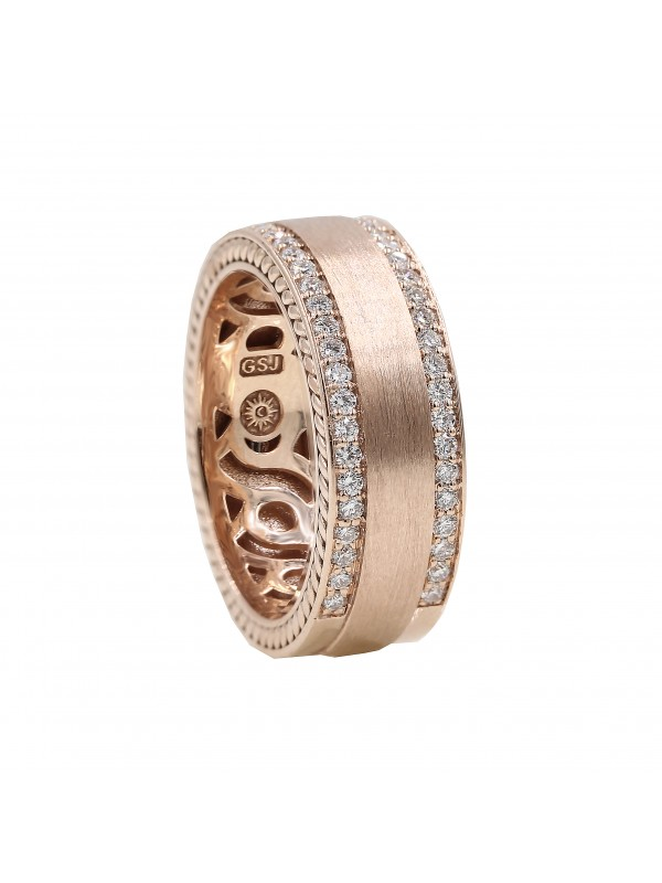 Rose Gold Double Diamond Row Mens Band Mens Rings
