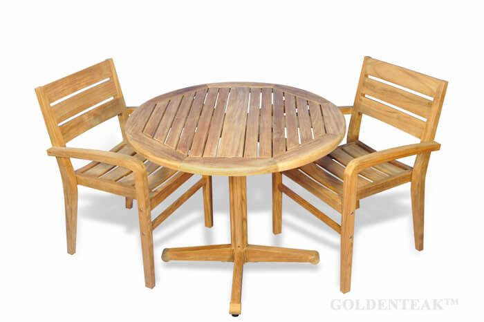 teak dining set small round table and 2 stacking chairs