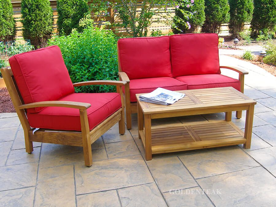 teak deep seating conversation set with loveseat club chair coffee table with shelf