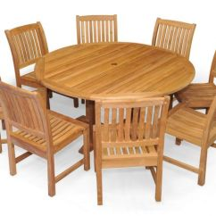 Round Table 8 Chairs Ashley Furniture Living Room Teak Patio Dining Set For Side