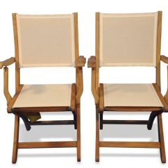 Teak Folding Chair Fishing Exercises Providence With Arms Sling Fabric Cream Goldenteak