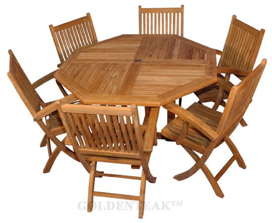 teak folding chair revolving bearing patio set with octagon table 52 d 6 chairs rockport