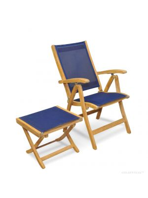 folding chairs for boats desk chair covers amazon marine teak furniture tables lounges sling recliner and foot stool set navy