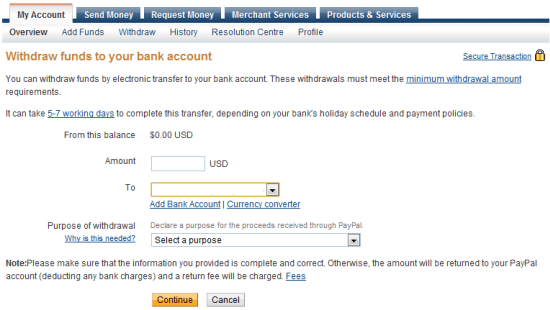 Withdraw to Bank Account