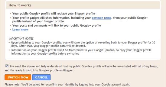 Switch to Google+ Profile