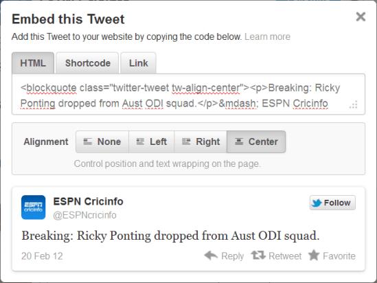 Embed this Tweet Code