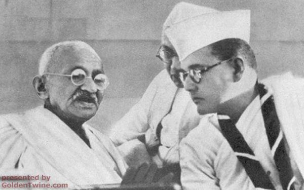 Subhas Bose with Mahatma Gandhi