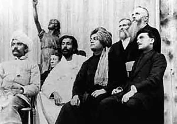 Swami Vivekananda at the Parliament of Religions with Virchand Gandhi, Hewivitarne Dharmapala