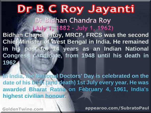 Dr Bidhan Chandra Roy Jayanti